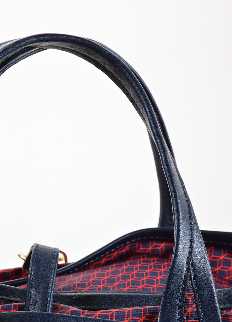 Pierre Hardy Red and Navy Nylon and Leather Cube Print Weekended Tote Bag Detail 2