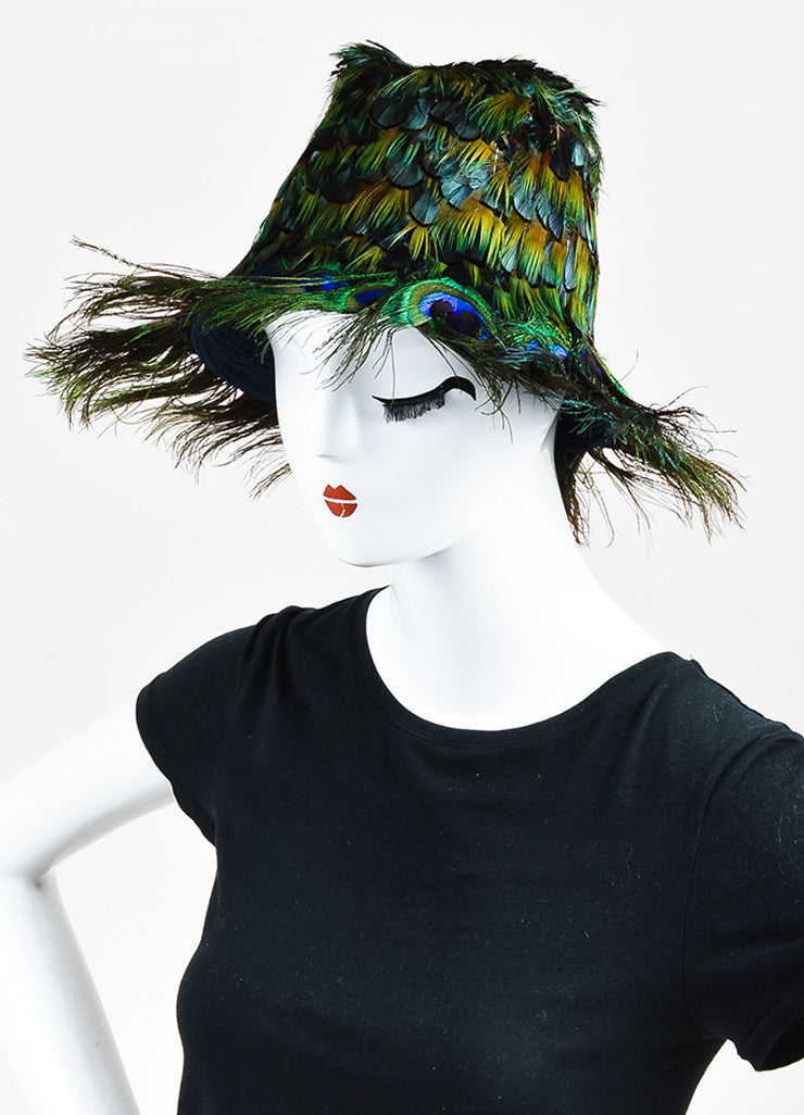 Prada Green, Blue, and Orange Peacock Feather Fedora Hat Sideview