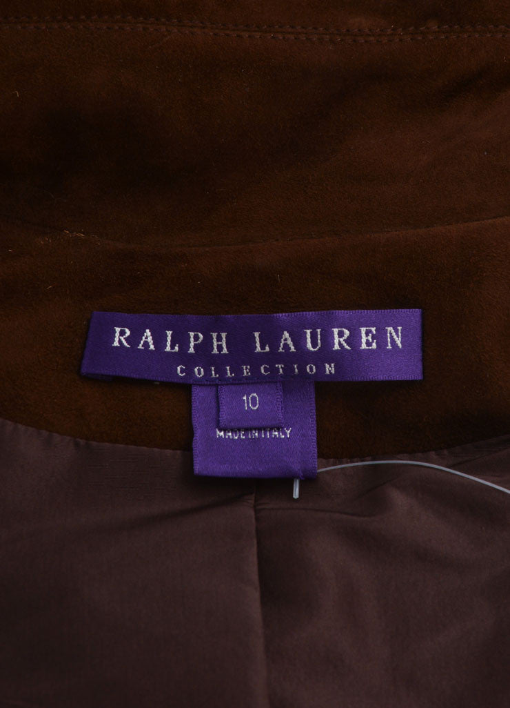 Ralph Lauren Collection Brown Suede Leather Long Sleeve Jacket Brand