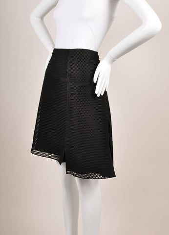 "Reed Krakoff New With Tags Black Knit Mesh Fishnet ""Honeycomb"" Skater Skirt Sideview"