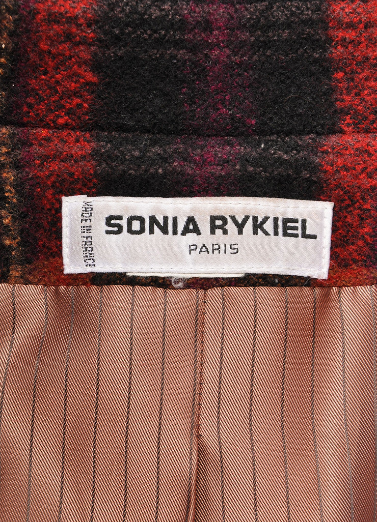 Sonia Rykiel Black, Red, and Yellow Plaid Tweed Double Breasted Blazer Brand