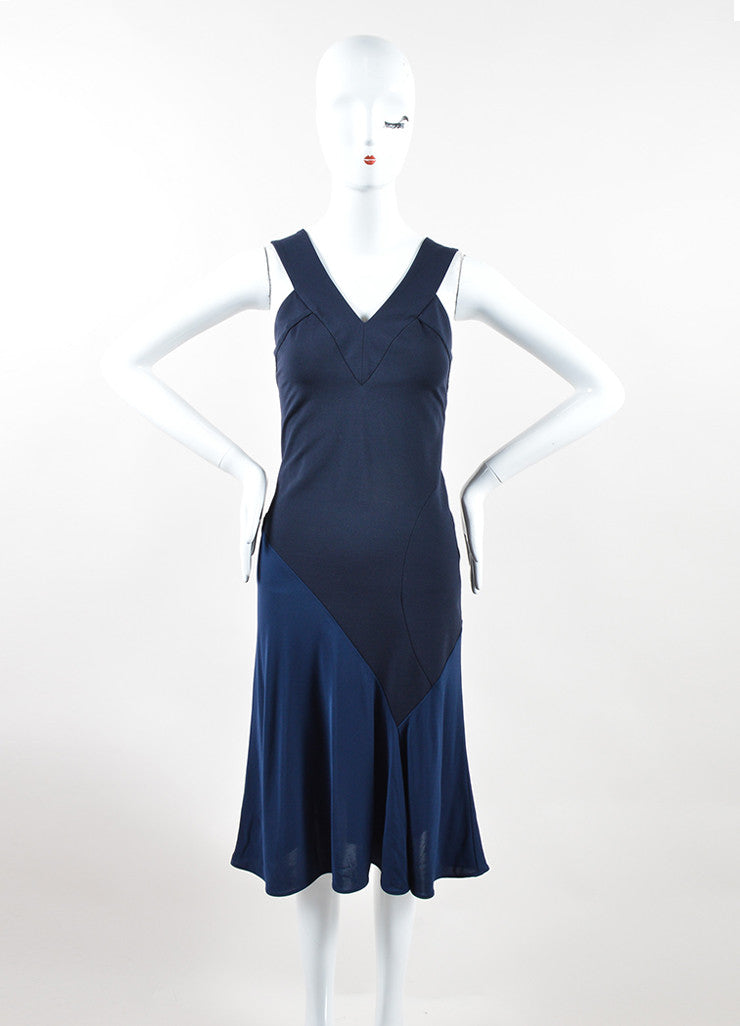 Navy Blue Stella McCartney Bicolor V-Neck Sleeveless Dress Frontview