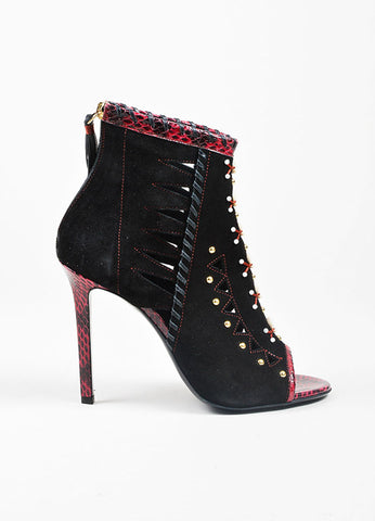 "Black and Red Tamara Mellon Suede and Snakeskin ""Cheyenne"" Shell Booties Sideview"