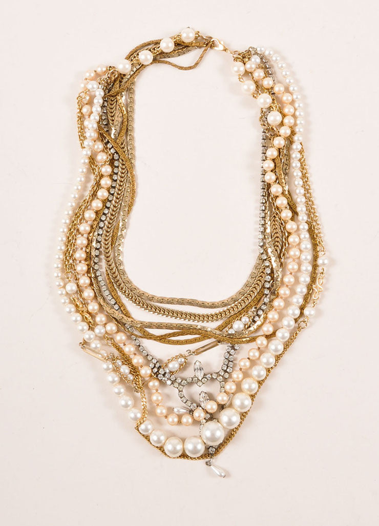 Tom Binns Gold Toned and Faux Pearl Rhinestone Multi Chain Necklace Frontview
