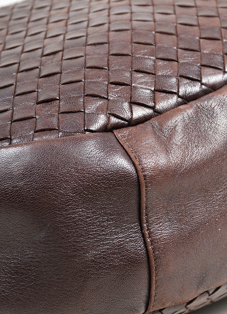 Brown Bottega Veneta Woven Intrecciato Leather Hobo Shoulder Bag Detail