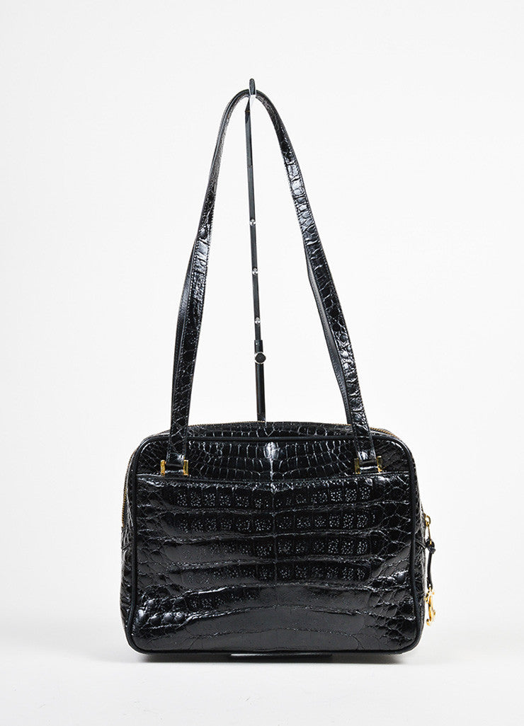 "Black Chanel Crocodile Gold Toned ""CC"" Logo Zip Dual Handle Shoulder Bag Frontview"