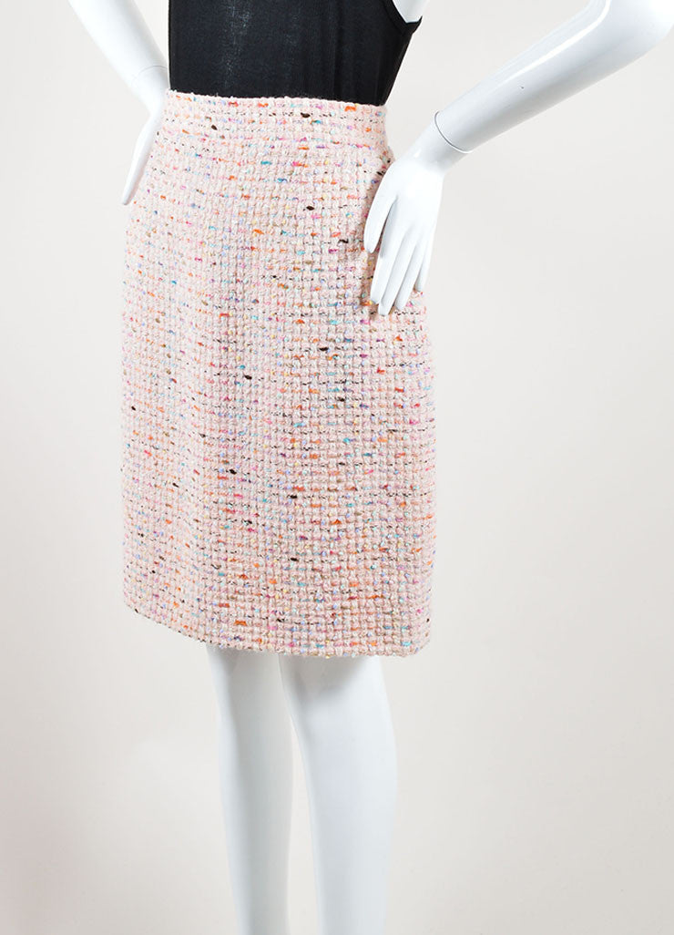 Chanel Pastel Pink and Multicolor Wool Tweed Pencil Skirt Sideview