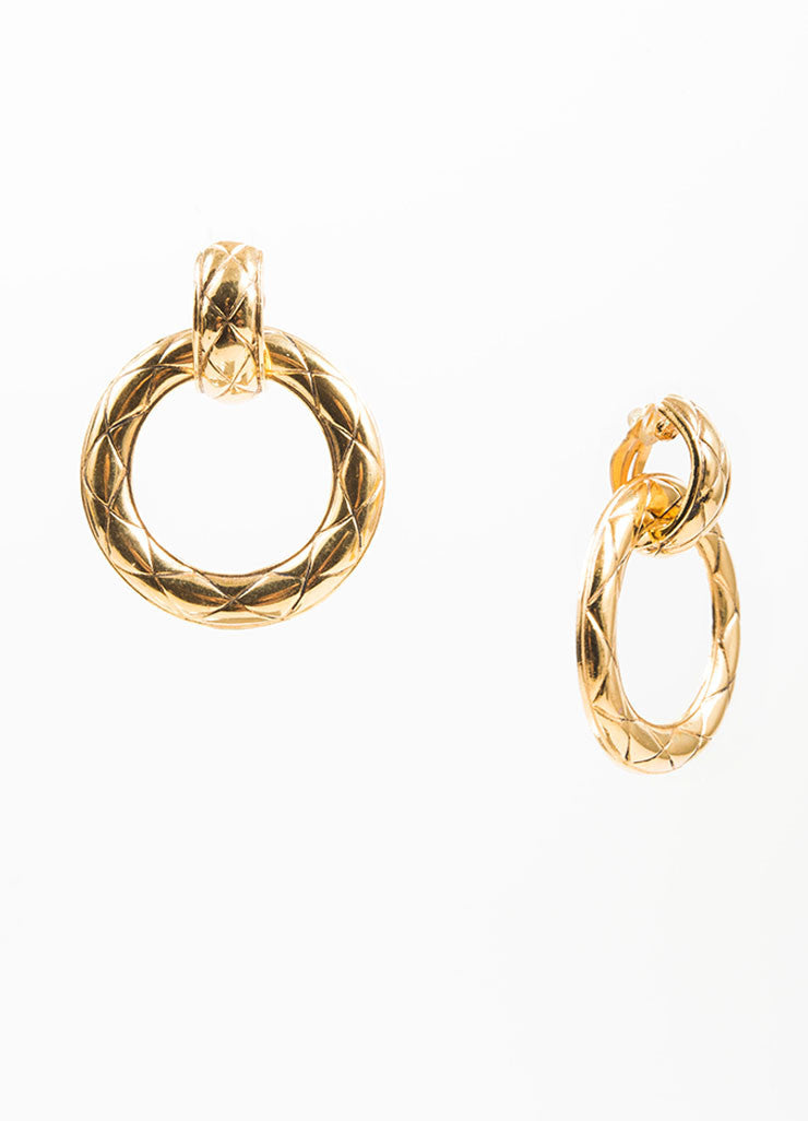 Gold Toned Chanel Quilted Convertible Drop Hoop Clip On Earrings Sideview