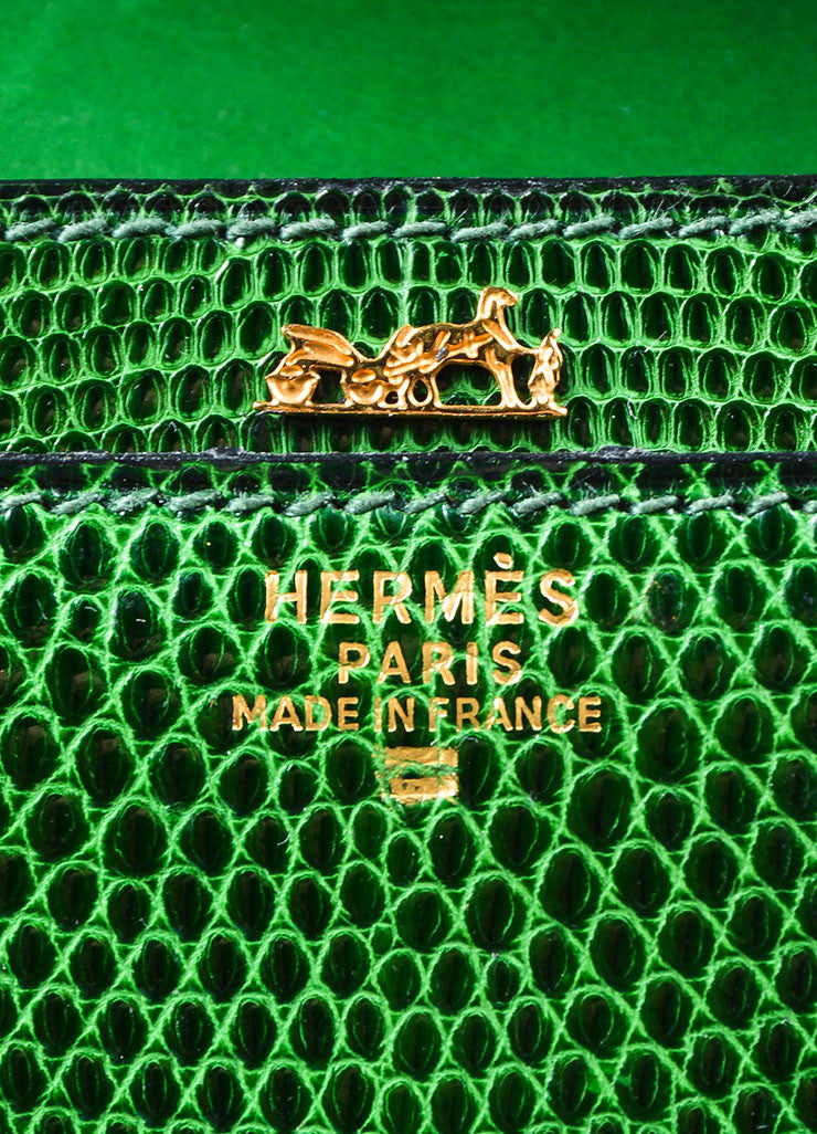 "Green Hermes Lizard Leather ""Marigny"" Envelope Clutch Shoulder Bag Brand"
