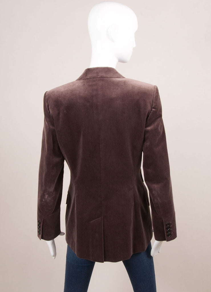 Hermes Purple Velvet One Button Long Blazer Backview