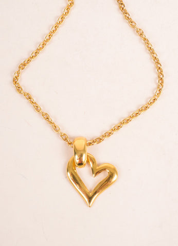 Yves Saint Laurent Gold Toned Open Heart Pendant Necklace Detail