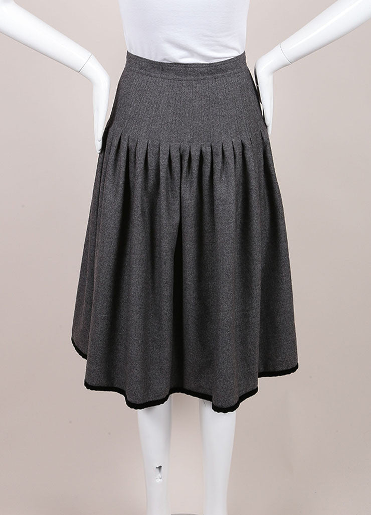 Valentino Grey Wool Front Button Midi Skirt Backview