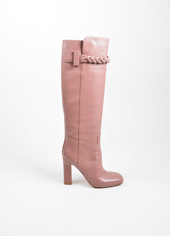 Mauve Pink Valentino Leather Braided Knee High Boots Sideview
