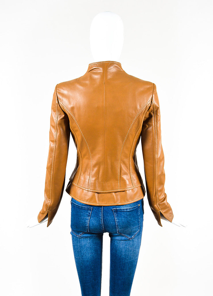 Valentino Camel Tan Leather Stitch Trim Belted Jacket Backview
