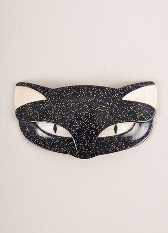 Lea Stein Black Acetate Glitter Cat Face Brooch Frontview