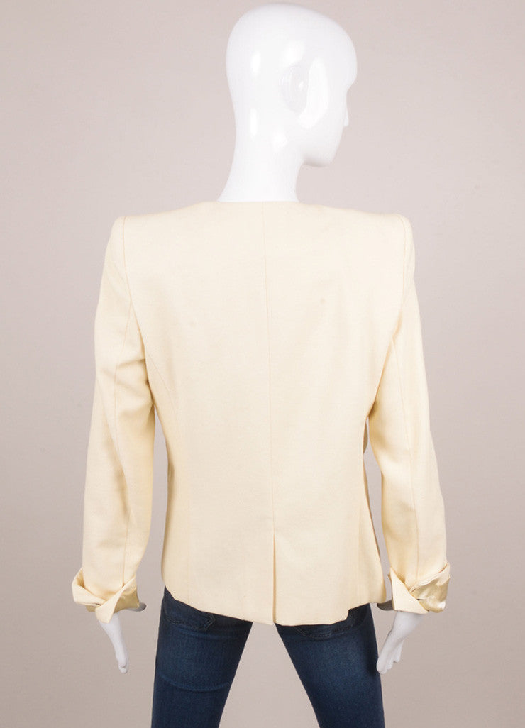 New With Tags Cream Textured Cotton Blend Layered Buttoned Blazer