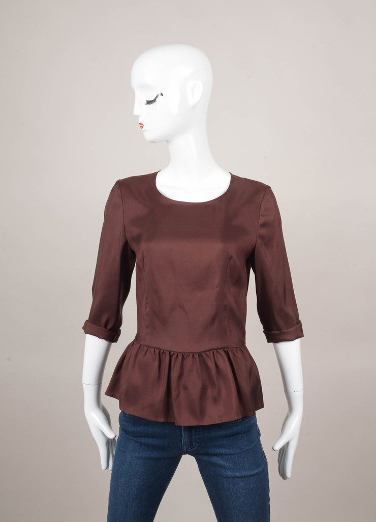 New With Tags Dark Plum Silk Peplum Blouse