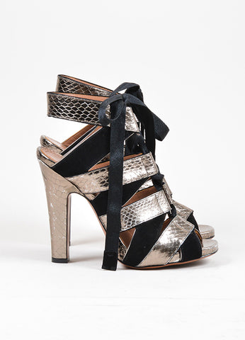 Black and Dark Silver Alaia Suede and Snakeskin Lace Up Peep Toe Sandals Sideview