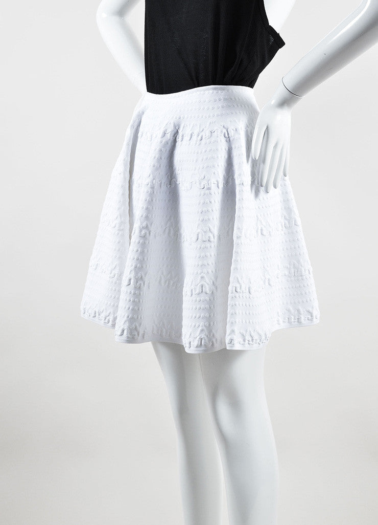 "Alaia White Mattelasse Knit Flared Circle ""Jupe Courte"" Skirt Sideview"