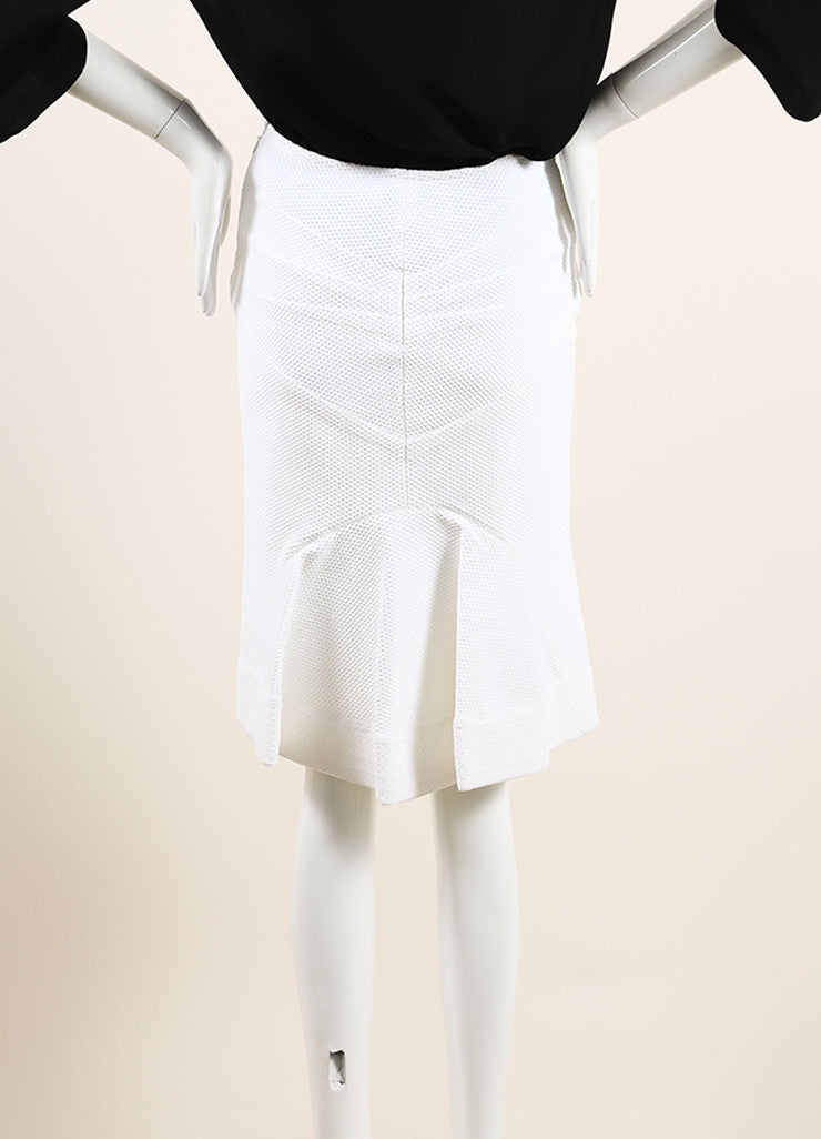 Alaia White Textured Stretch Knit Back Pleat Knee Length Skirt Backview