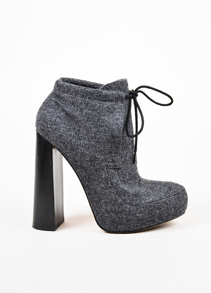 Alexander Wang Heather Grey Felted Wool High Heel Platform Ankle Booties Sideview