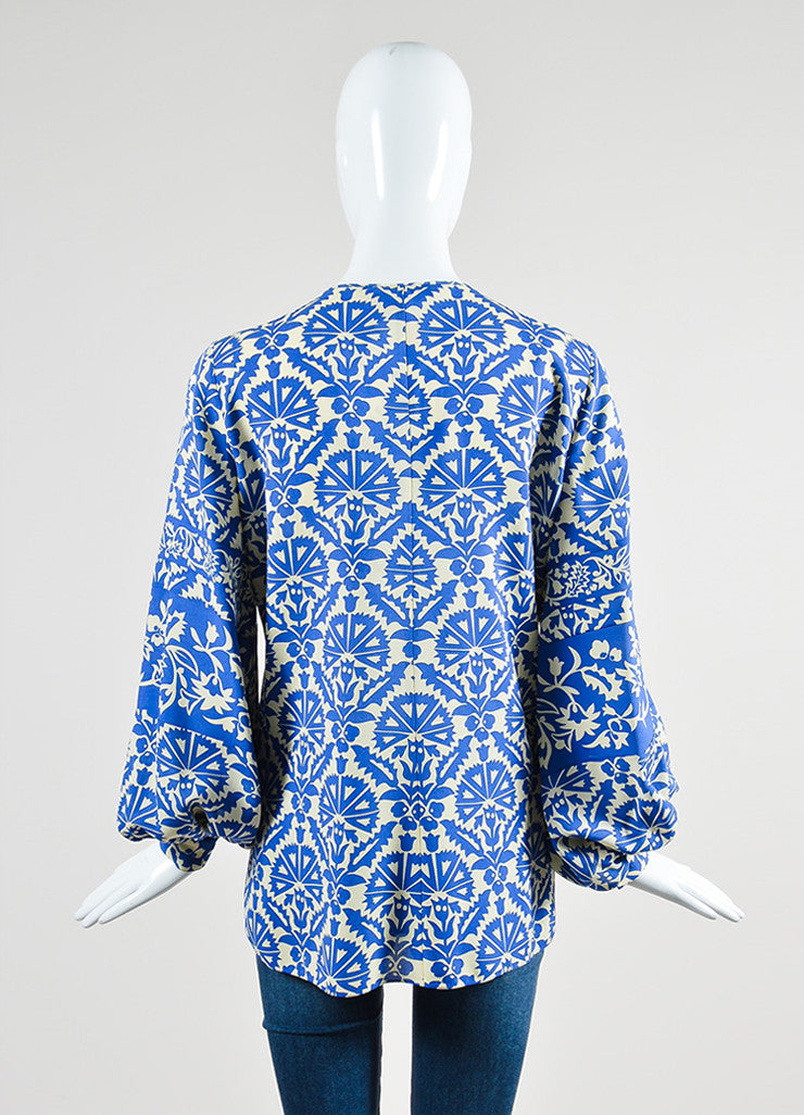 Royal Blue and Cream Andrew Gn Silk Floral Long Sleeve Tunic Top Backview