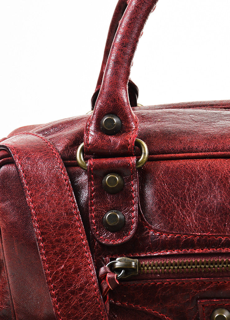 "Balenciaga Deep Red Leather ""Twiggy"" Satchel Bag With Shoulder Strap Detail 2"