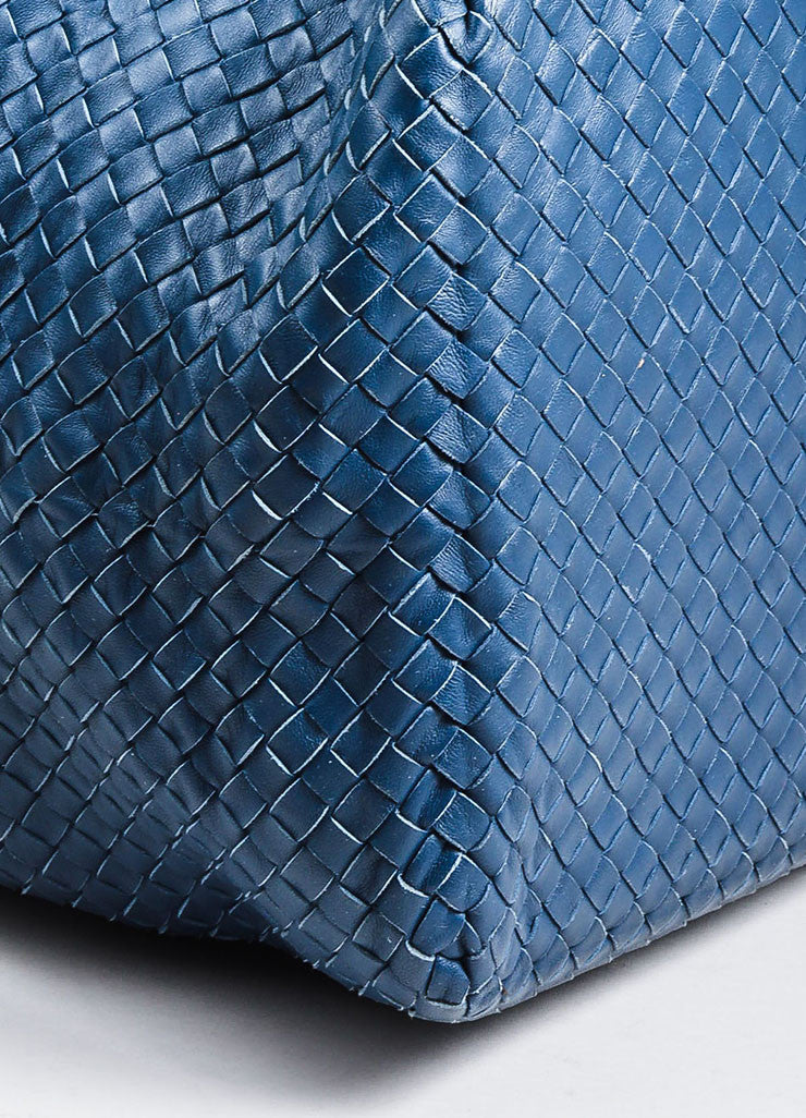 "Navy Bottega Veneta Leather Woven ""Intrecciato Weekend Bag"" Duffle Bag Detail"