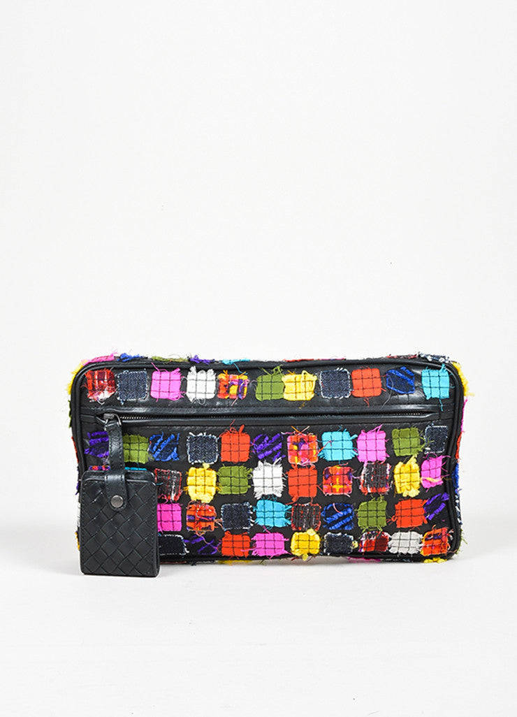 Black and Multicolor Bottega Veneta Patchwork Leather Oblong Zip Mirror Pull Clutch Frontview