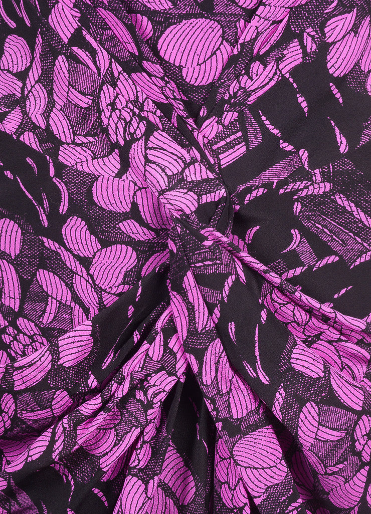 Bottega Veneta New With Tags Black and Purple Silk Floral Print Strapless Dress Detail