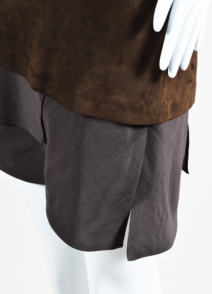 Brunello Cucinelli Brown Suede and Wool Blend Asymmetrically Tiered Skirt Detail