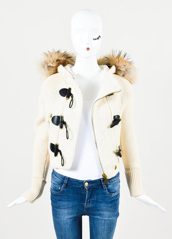 Burberry Brit Cream, Black, and Brown Wool and Fur Trimmed Hooded Toggle Jacket Frontviwe
