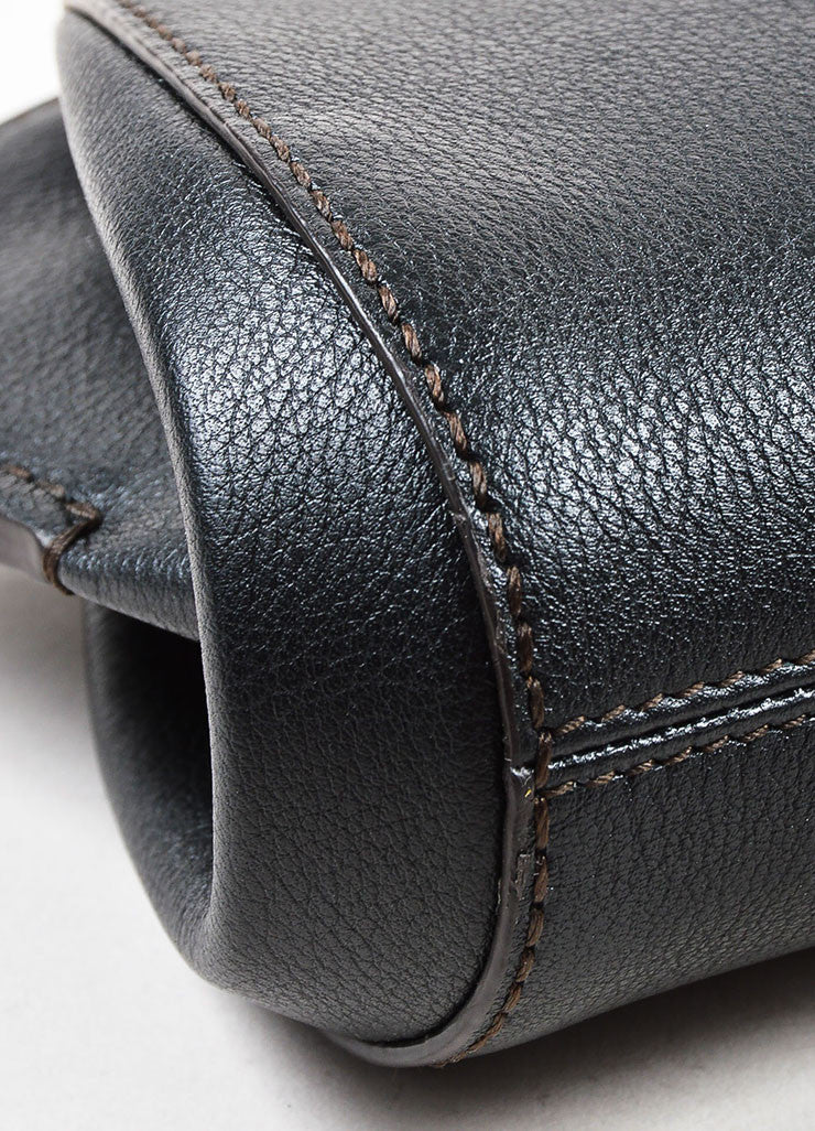 "Cartier ""Onyx"" Black Leather Winged Zipped ""C de Cartier"" Pouch Clutch Bag Detail"