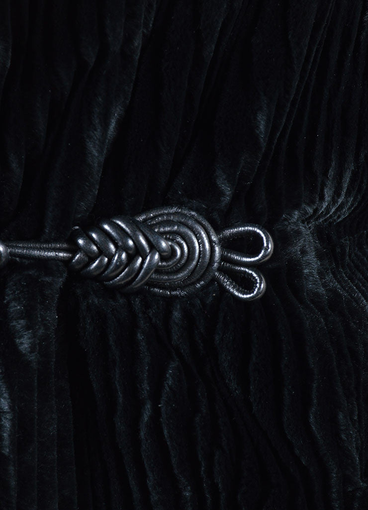 Black Cassin Ribbed Fur Braided Leather Toggle Hooded Coat Detail