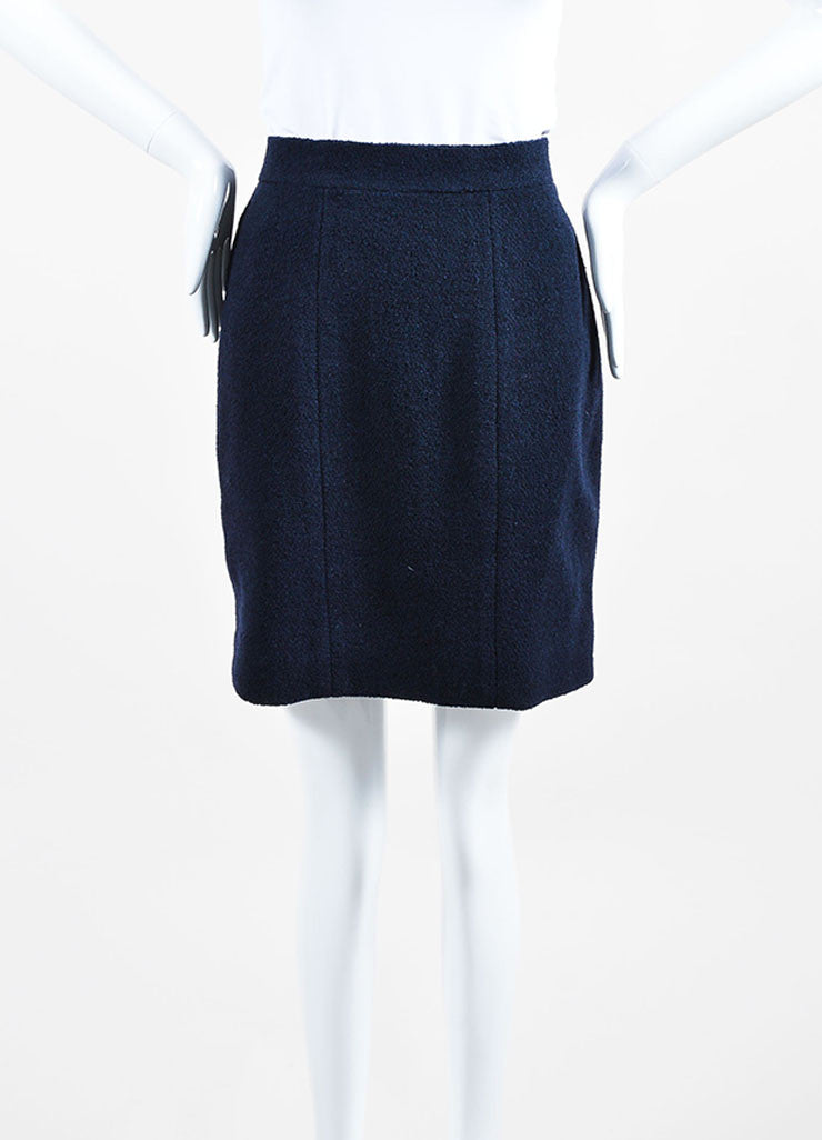 Navy Blue Chanel Boucle Wool Pencil Skirt  Frontview