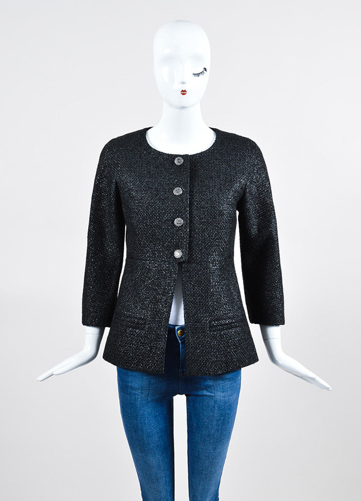 Black Chanel Coated Tweed 'CC' Button Collarless Jacket Frontview 2
