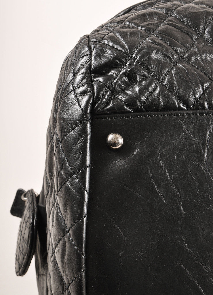 "Chanel Black Crinkle Leather ""CC"" Logo Large Bowler Bag Detail 3"