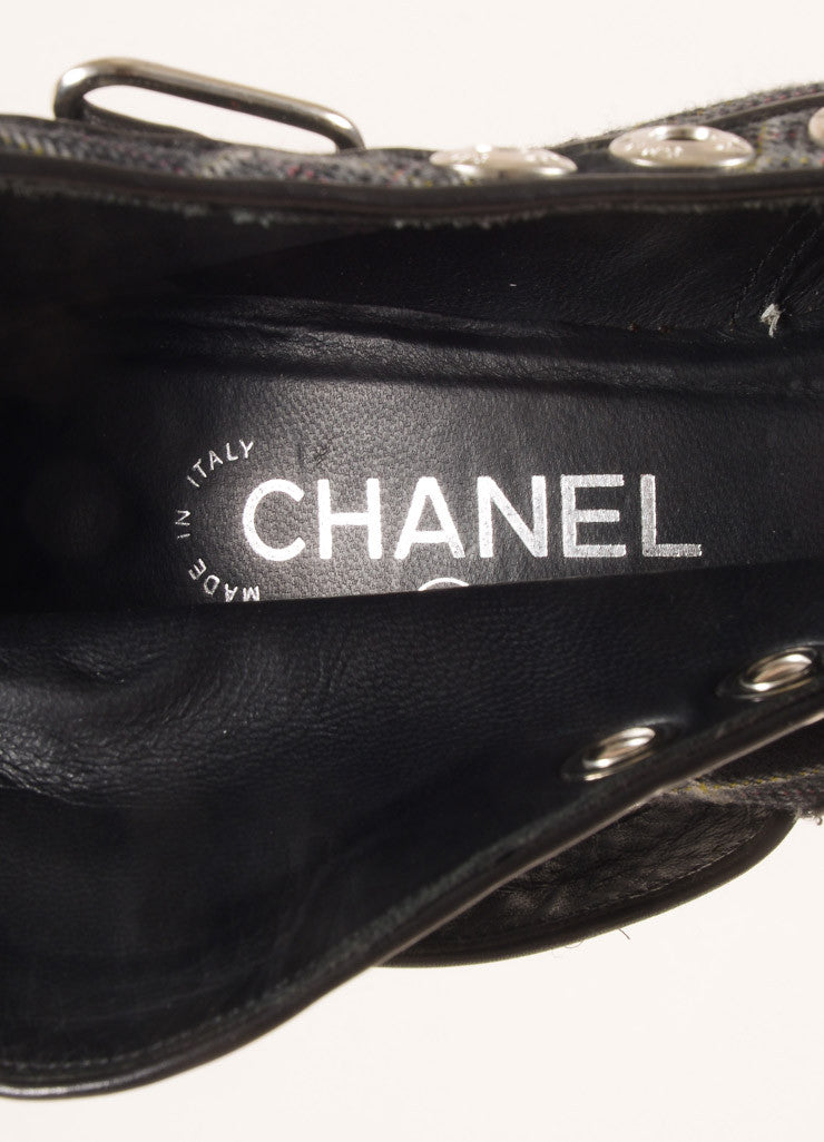Chanel Black and Navy Leather and Wool Plaid Lug Ankle Boots Brand