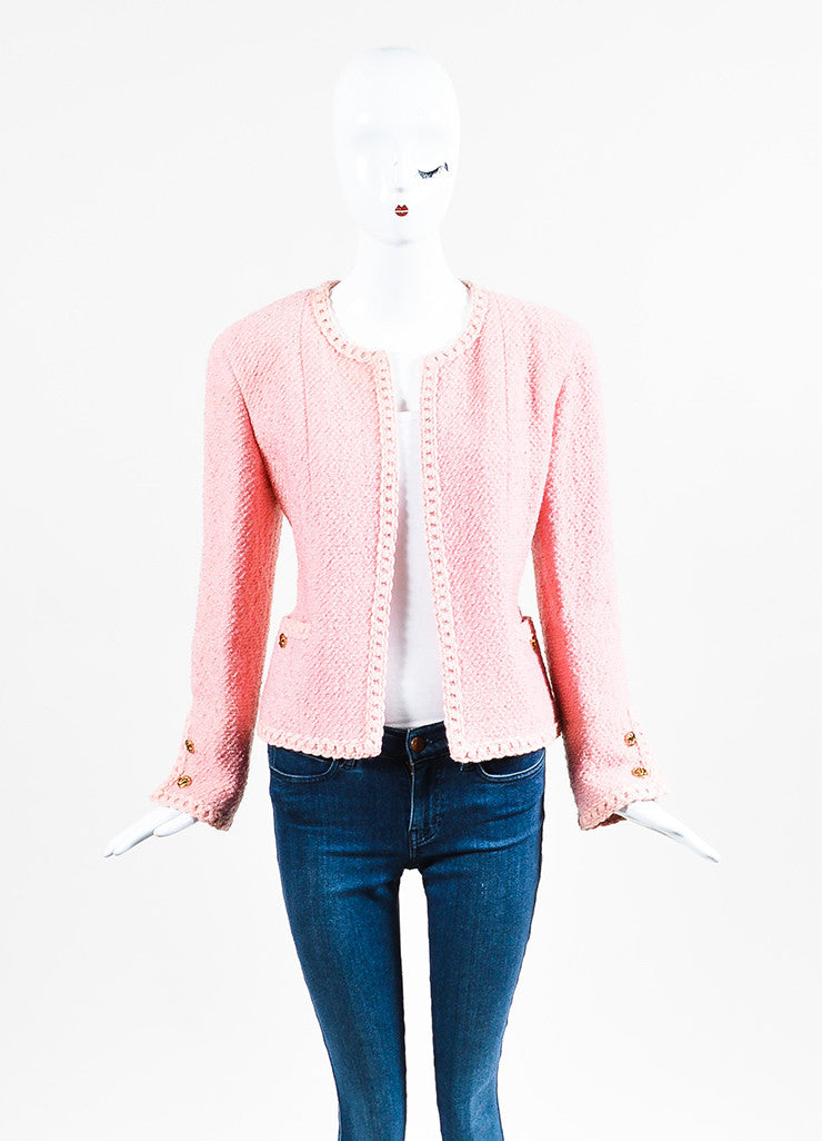 Chanel Pink Boucle Tweed Braided Embroidery Collarless Blazer Frontview
