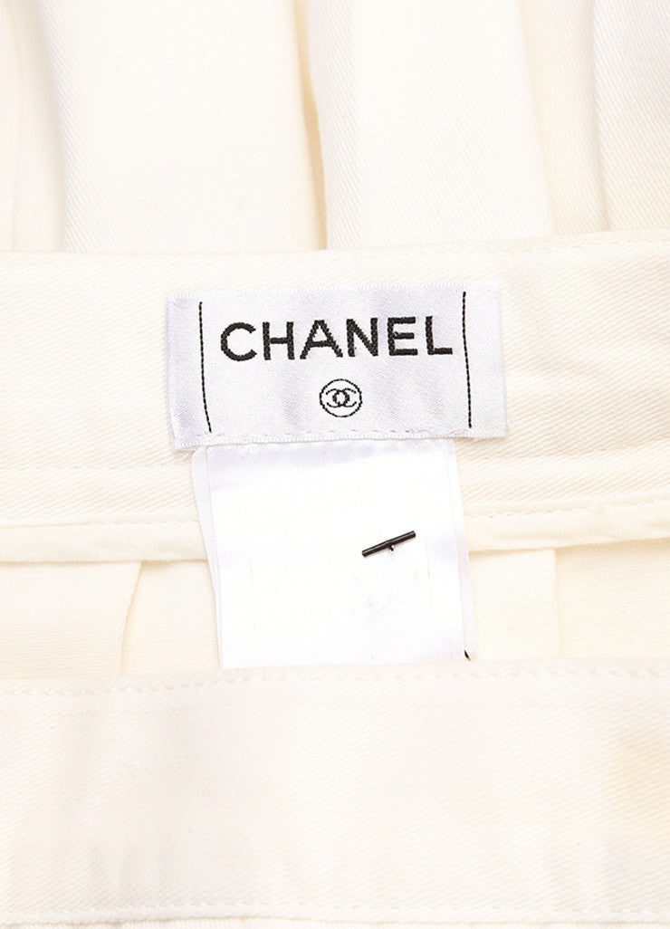 Chanel Cream Twill Pleated Drop Waist Maxi Skirt Brand