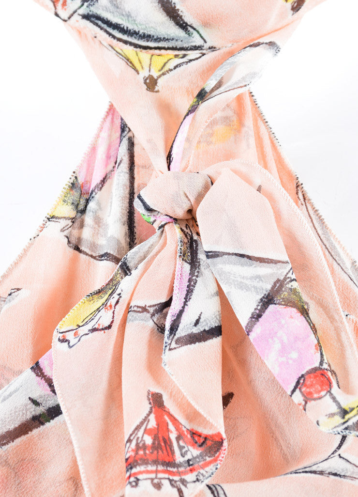 Chanel Light Pink and Multicolor Silk Chiffon Ice Cream Print Halter Dress Detail