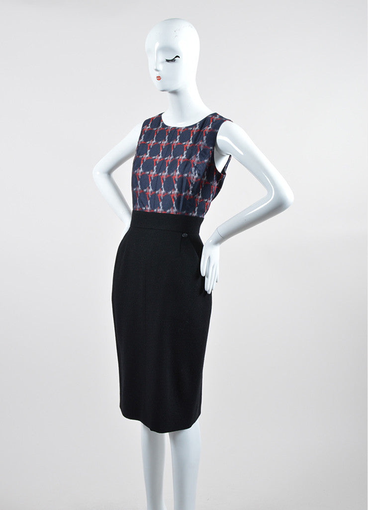 Black, Navy, and Red Chanel Silk and Wool Sheath Dress Sideview