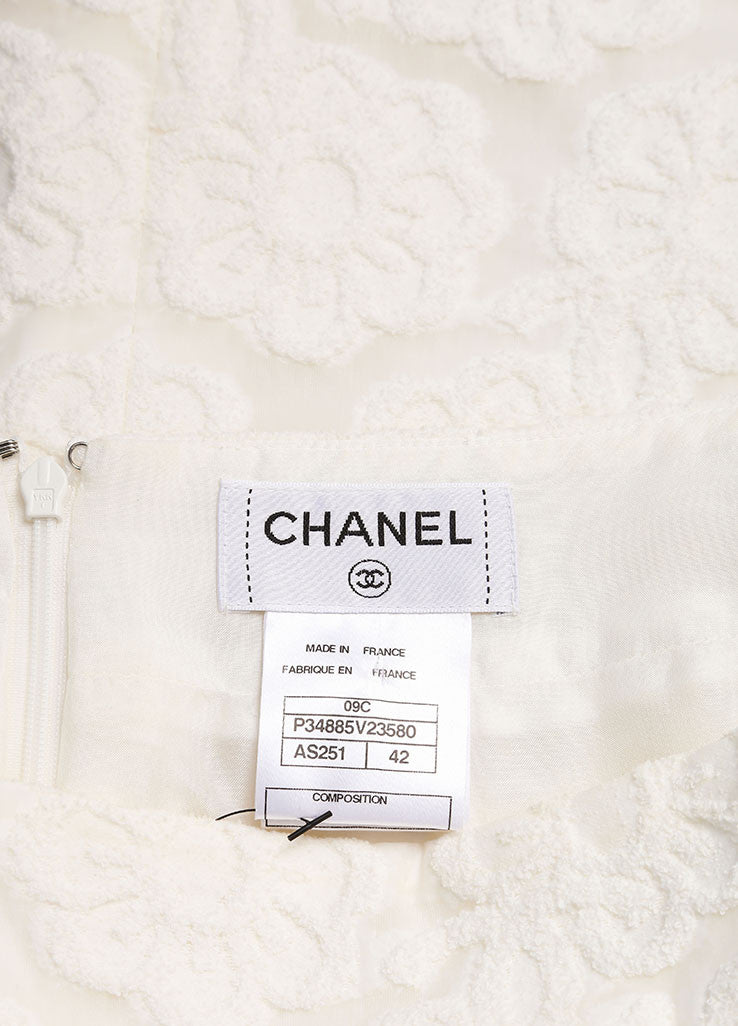 Chanel White Cotton Blend Flower Embroidered Pencil Skirt Brand