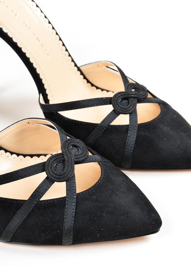 "Black Suede Charlotte Olympia ""Minx"" Knotted Ankle Strap Pumps Detail"