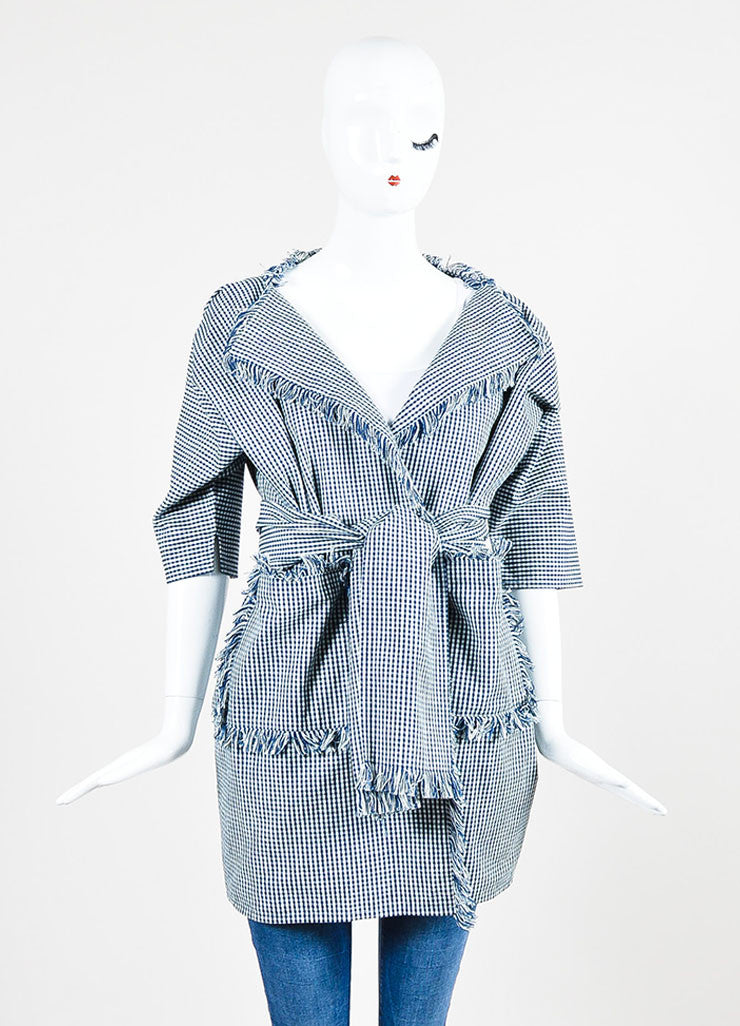 Navy Blue and White Chloe Cotton Check Dolman Sleeve Belted Fringe Jacket Frontview