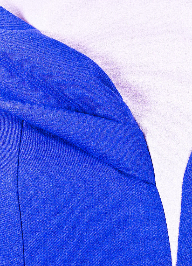¥éËChristian Dior Blue and Pink Wool Paneled Off The Shoulder Sheath Dress Detail
