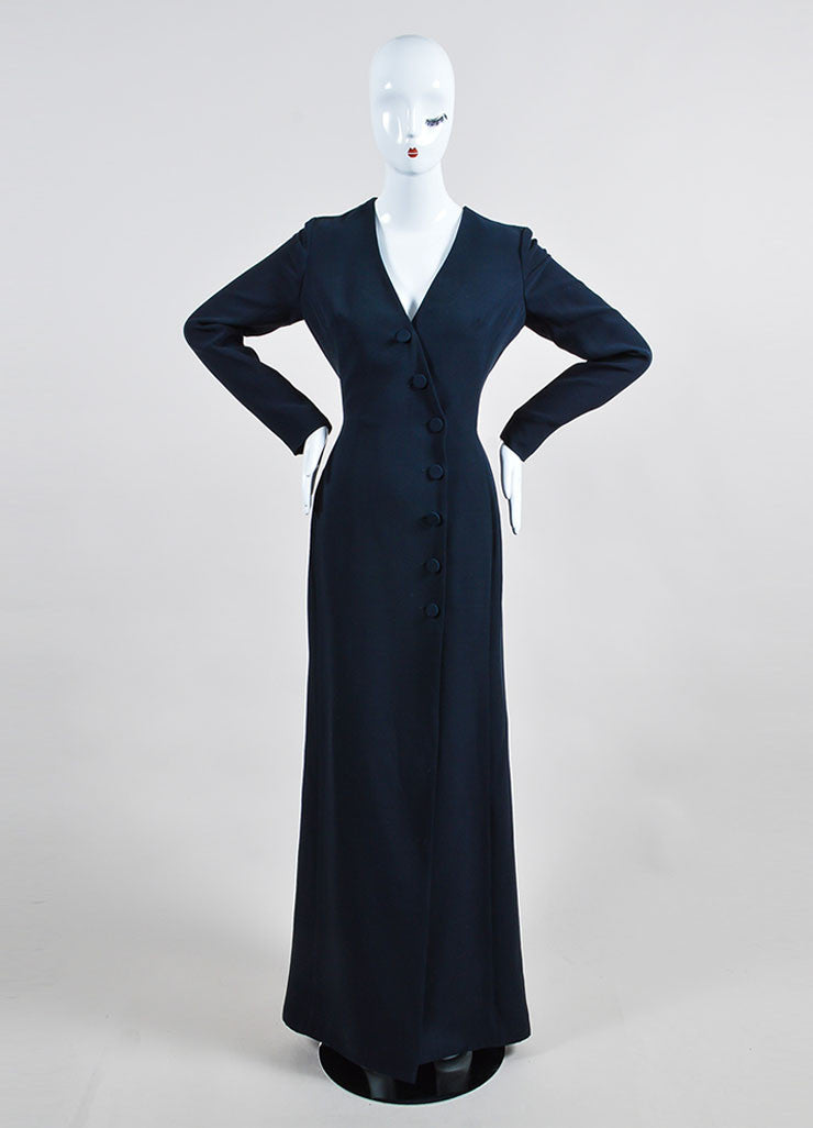 "Christian Dior Navy ""Bleu Marine"" Silk Wool Buttoned Long Sleeve Gown Frontview"