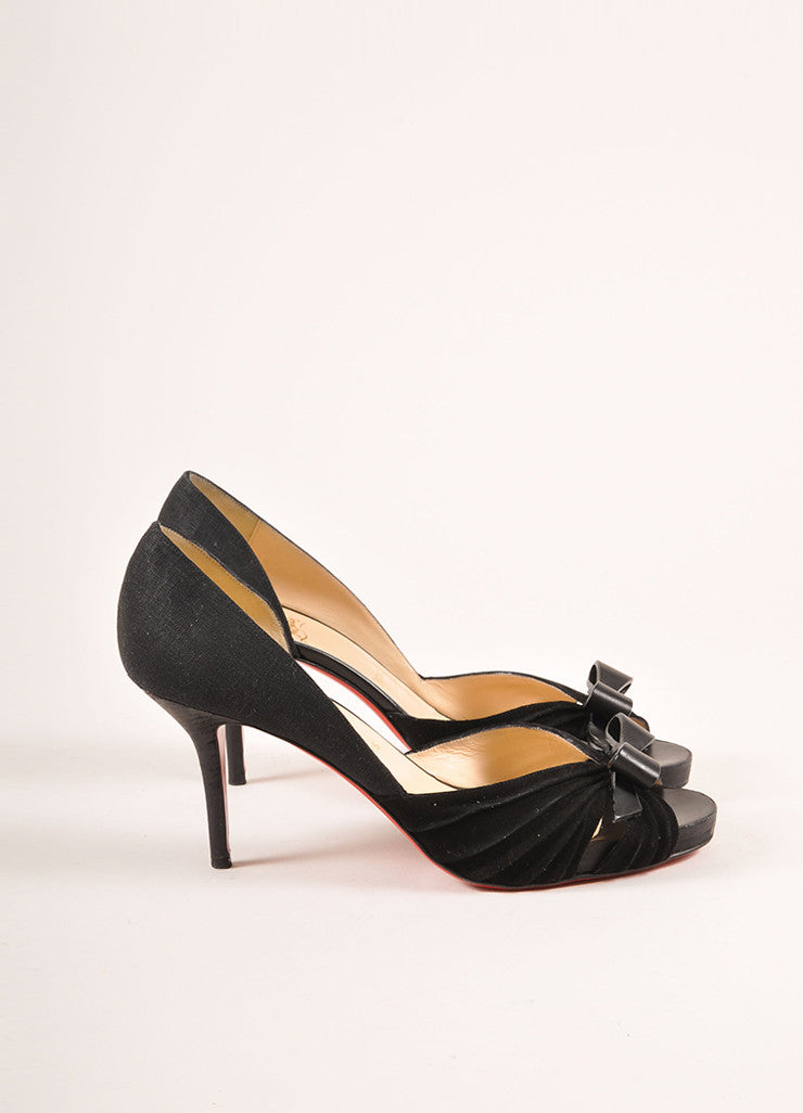 "Christian Louboutin Black Suede and Linen Bow ""Lady Turner"" Peep Toe Pumps Sideview"
