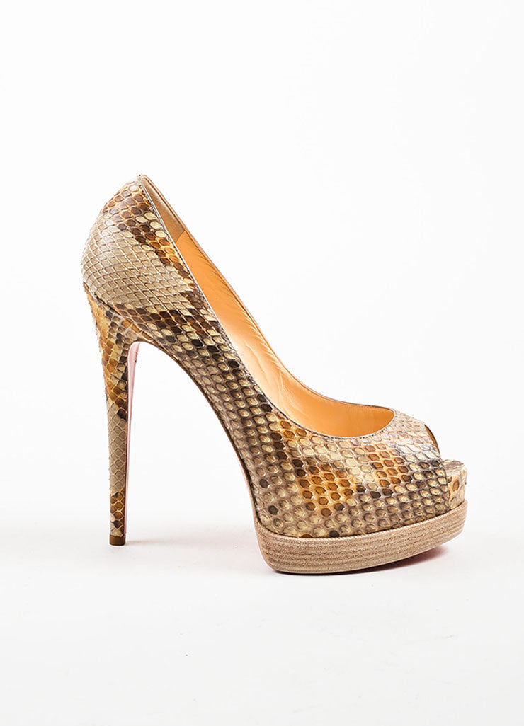 "Christian Louboutin Tan ""Palais Royal Trepointe 140 Python"" Pumps Sideview"