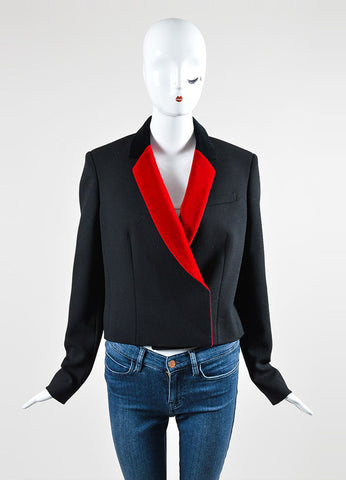 Black and Red Christopher Kane Wool and Velvet Long Sleeve Blazer Jacket Frontview 2